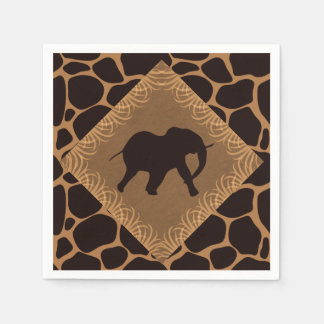 Safari Theme Elephant Over Giraffe Print Paper Serviettes