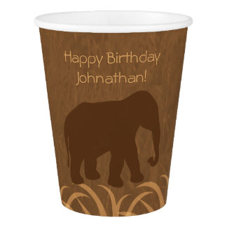 Safari Theme | Elephant Silhouette | Personalized Paper Cup