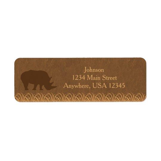 Safari Theme | Rhino Silhouette |  Personalised Return Address Label