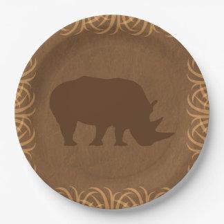 Safari Theme Rhino with Tall Grass Border 9 Inch Paper Plate