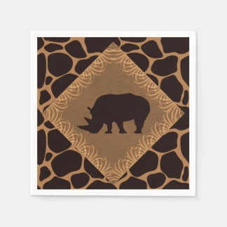 Safari Theme Rhinoceros Disposable Serviette