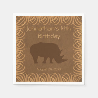 Safari Theme Rhinoceros Personalized Paper Napkin