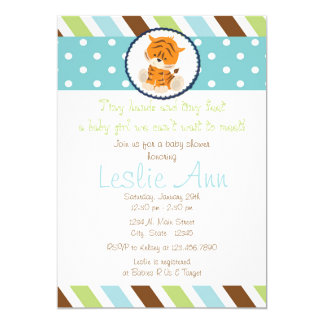 Safari Tiger Blues Baby Shower Invitation