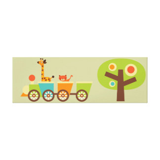 Safari Train Canvas Kids Wall Decor Baby Nursery Stretched Canvas Prints
