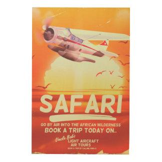 Safari vintage adventure poster. wood wall art