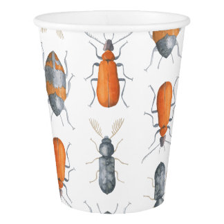 Safari Watercolor Bugs Pattern Paper Cup