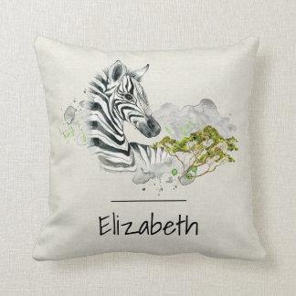 Safari Zebra Wild Exotic Animal In Watercolors Throw Pillow