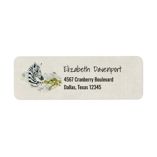 Safari Zebra With Green Savannah Tree Watercolor Return Address Label