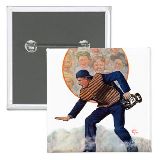 Safe at the Plate 15 Cm Square Badge