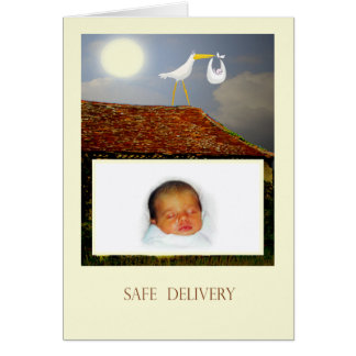 Safe delivery, Stork and baby, custom card