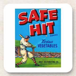 Safe Hit Vintage Lable Art Beverage Coaster