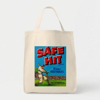 Safe Hit Vintage Lable Art Grocery Tote Bag