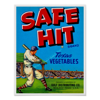 Safe Hit Vintage Lable Art Poster