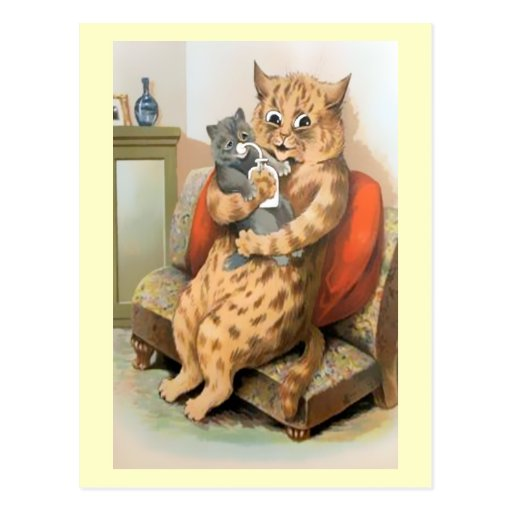 Safe in Mother's Arms by Louis Wain Postcard