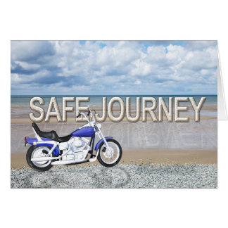 Safe journey card with a motor bike