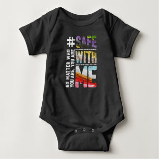 Safe With Me Watercolor Dark Baby Bodysuit