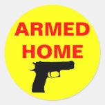 Safety Armed Home Round Sticker