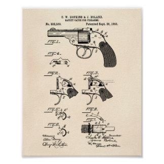 Safety Catch Firearms 1893 Patent Art Old Peper Poster