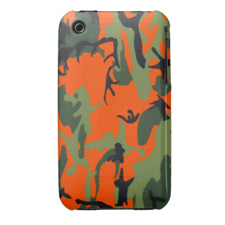 Safety Orange and Green Camo iPhone 3 Case-Mate Cases