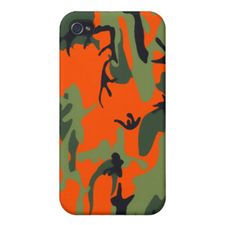 Safety Orange and Green Camo Cover For iPhone 4