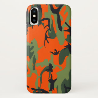 Safety Orange and Green Camo iPhone X Case