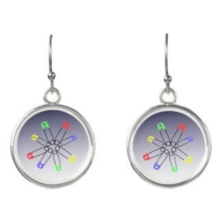 Safety Pin Red Blue Green Rainbow Solidarity Earrings