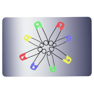 Safety Pin Red Yellow Blue Rainbow Solidarity Floor Mat