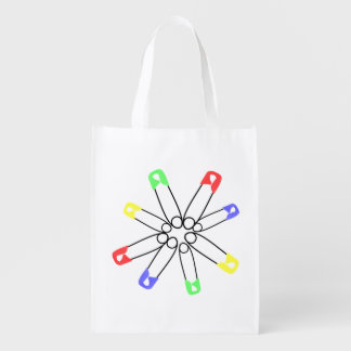 Safety Pin Red Yellow Blue Rainbow Solidarity Reusable Grocery Bag