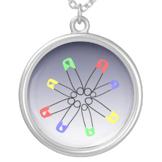 Safety Pin Yellow Blue Green Rainbow Solidarity Silver Plated Necklace