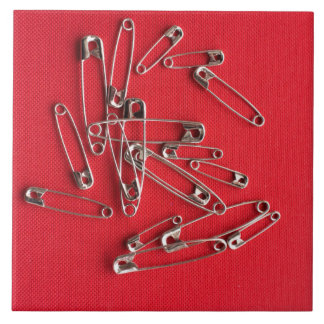 Safety-pins Large Square Tile