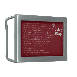 Safety Pledge Rectangular Belt Buckle