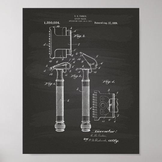 Safety Razor 1920 Patent Art - Chalkboard Poster