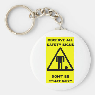 Safety Sign Warning Basic Round Button Key Ring