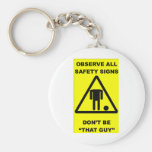 Safety Sign Warning Keychain