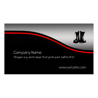 Safety Work Boots, red swoosh, metallic effect Pack Of Standard Business Cards