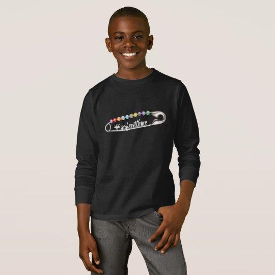 #SafeWithMe Boy's Dark Long Sleeve T-Shirt