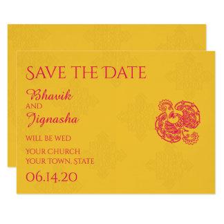 Saffron Pink Peacock Indian Wedding Save the Date 9 Cm X 13 Cm Invitation Card