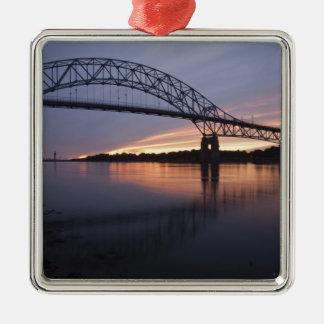 Sagamor Bridge over Cape Cod canal, Silver-Colored Square Decoration
