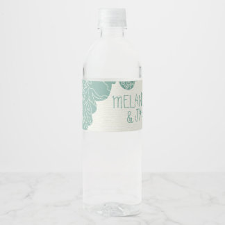 Sage and Ivory Floral Water Bottle Label