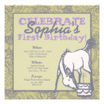 Sage and Lavender Pony Girl's First Birthday Invitations
