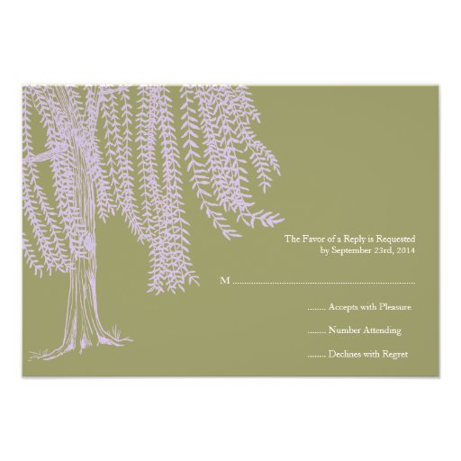 Sage and Lavender Willow Tree Wedding RSVP Personalised Invite