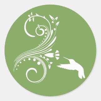 Sage and White Hummingbird Envelope Sticker Seal