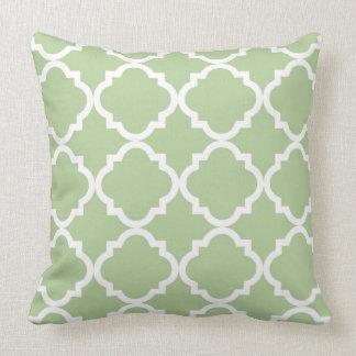 Sage and White Quatrefoil Pattern Throw Pillow