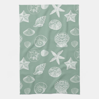 Sage and White Sea Shells Tea Towel