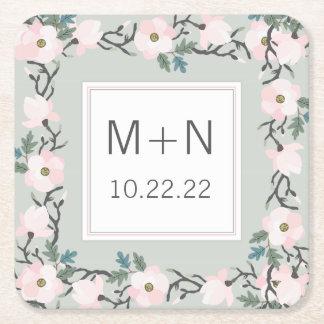 Sage + blush pink floral wedding date monogram square paper coaster