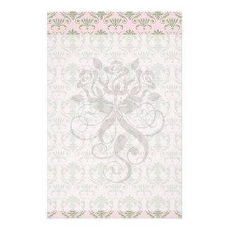 sage damask pattern on soft pink custom stationery