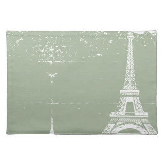 Sage Eiffel Tower Custom Table Placemats