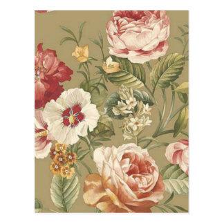Sage Floral Roses Postcard