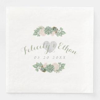 Sage Floral & White Rustic Wood Wedding Napkin Paper Napkin
