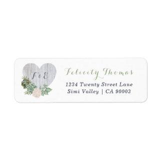 Sage Floral White Wood Heart Wedding Address Label